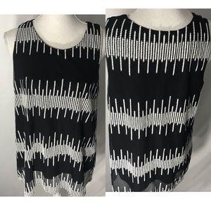 Alfani black and white blouse size Large